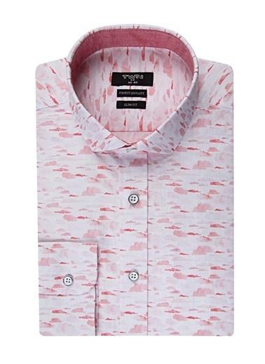 TWN Slim Fit Desenli Gömlek Beyaz